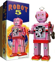 """Robot 5 Pink. Considered to be the Picasso of the Robot World due to it's unique graphic depiction of gears and levers displayed in his chest. """"Robot 5"""