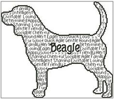 In Words Beagle is a unique outline chart measuring 140 stitches wide by 121 stitches high and has been designed for you to use whatever colours you