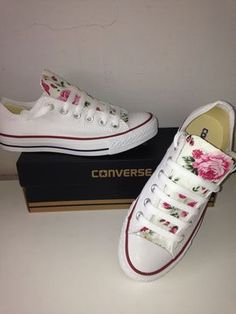 Image of Low white floral converse