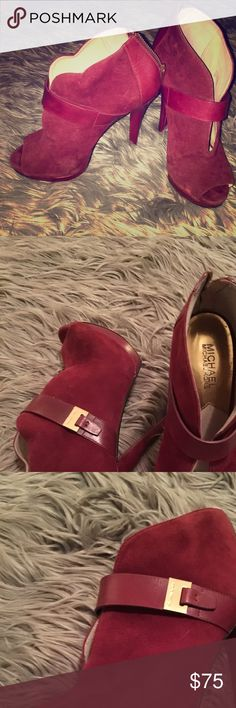"""Authentic Michael Kors Red SUEDE Pumps- worn once EUC Authentic Michael Kors red/maroon heels worn once! Excellent for going out and about 4"""" heels. Michael Kors Shoes Heels"""