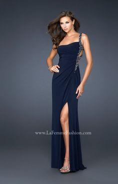 Robe de soiree sexy epaule unique bleue fonce :