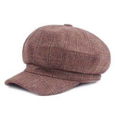 614382437d7  AETRENDS  2017 Winter Vintage Plaid Octagonal Newsboy Caps for Women Men  Casual Beret Hats Z-6039
