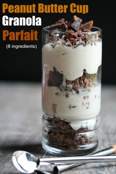 Vegan Peanut Butter Cup Granola Parfaits with the best EVER Homemade Peanut Butter Cups. ENTIRE recipe is 8 ingredients, vegan, GF and oil-free! | http://TheVegan8.com #vegan #glutenfree #oilfree #peanutbutter #granola #parfait