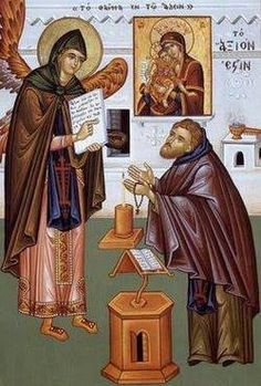 The Holy Archangel Gabriel appearing to the monk and revealing the hymn: Axion Estin The Holy Mountain, Archangel Gabriel, Religious Books, Byzantine Icons, Orthodox Christianity, The Monks, Orthodox Icons, Catholic, Faith