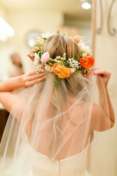Wedding veil with floral crown