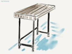 Sketch for our tutorial on creating a DIY pipe desk for our industrial decor.