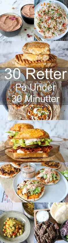 30 lækre retter på 30 minutter eller under 30 minutter. Dette indlæg indeholder 11 lækre forretter/snakcs, 16 skønne frokost/aftensmadsretter og 3 desserter, som alle kan laves på 30 minutter eller under. #Aftensmad #Opskrift #Frokost #Hjemmelavet #30minutter Snack Recipes, Dessert Recipes, Dinner Recipes, Healthy Recipes, Snacks, Cook N, Tapas, Soul Food, Cheddar