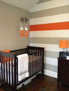 Grey and Orange Nursery MobileTangerine clouds by katemaedesigns, $45.00