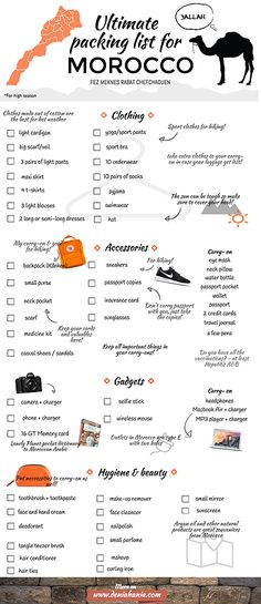 Since my packing list for Peru was a huge success earlier this year, I decided to share my packing list for Morocco as well. This list is especially designed f
