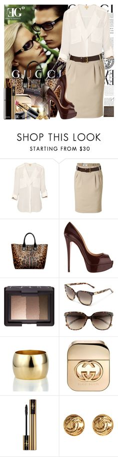 """How do you even think on going to safari without your Guccilasses?"" by eleonoragocevska ❤ liked on Polyvore featuring Gucci, Versus, T. Babaton, Moschino Cheap & Chic, Dolce&Gabbana, Christian Louboutin, NARS Cosmetics, A.V. Max, Chanel and Yves Saint Laurent"