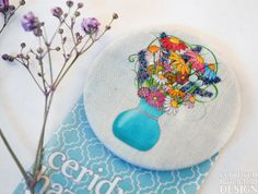 Flowers Fabric Badge Large Badge Pin Badge Fabric Covered Button Mothers Day Gift by ceridwenDESIGN http://ift.tt/2eCbvwG