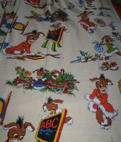 Tämä tai samantyyppinen lasten kangas, pienikin pala :)