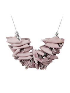 triangular light pink leather necklace by AnnaLawskaJewellery, zł200.00