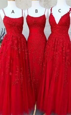 Elegant Straps Red Appliques Tulle Prom Dress, Long Evening Dress - Lilly is Love Pretty Prom Dresses, Tulle Prom Dress, Cute Dresses, Formal Dresses, Red Prom Dresses Uk, Types Of Prom Dresses, Red Formal Gown, Fitted Dresses, Red Ball Gowns