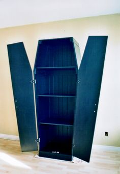 Coffin shaped book case. Commissioned piece. by Montreal artist Tommy Poirier-Morissette