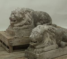 A true pair of antique carved limestone recumbent lions on attached plinths. These two stylized lion sculptures are mirror images of each other with their own unique details. Nice patina, in very good condition given age and use. Circa 1880. Imported from France. To learn more about animals and their place in the garden, please visit our Edit: Animal Instincts: Mild or Wild? Garden Ornaments For Sale, Stone Lion, Sculptures, Lion Sculpture, Obelisks, Garden Urns, Stone Statues, Mirror Image
