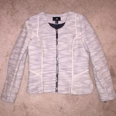 ✨HP!✨Woven Jacket w/ grosgrain trim Contemporary styling, this ivory/black woven jacket features inset grosgrain ribbon trim, on front & back. Zip front. Super flattering! US 12. Worn once! (Please excuse the UA turtleneck & fleece lined pants in the modeling photo... It's 6* here!!!!!) H&M Jackets & Coats