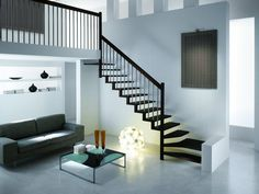 Quarter-turn staircase / wooden steps / metal frame / without risers - LINEA - RINTAL - Videos