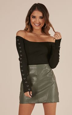 26a71b1bcc3309 Make It Move Skirt In khaki leatherette $39 showpo Shot In The Dark, Summer  Wear