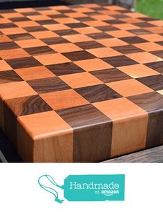 Handcrafted Reversible Cherry and Walnut Large End Grain Cutting Board Chopping…