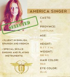 This is a profile that's shows a few characteristics that America Singer has.This is what got her selected to be in the selection with a chance to marry the prince.This is an opportunity that will change both her and her family's life.