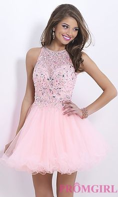 Short High Neck Babydoll Dress at PromGirl.com