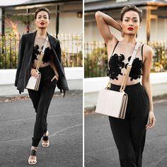 Delicates --- SJ Lingerie 'Raw' bodysuit //   Secret South 'Onyx' slim silk pants in black //   Lya Lya 'The Lure shoulder bag in nude python and gold // Nine West 'Neeway' wedges
