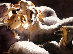 rencontre.jpg - Painting,  60x80 cm ©2014 par jean guy DAGNEAU -                                                            Art figuratif, Papier, La vie rurale, ombres et lumières