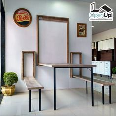 Smart Furniture, Space Saving Furniture, Home Decor Furniture, Furniture Design, Small Apartment Design, Home Office Design, House Design, Wall Dining Table, Summer House Interiors