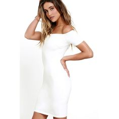 Me Oh My White Off-the-Shoulder Bodycon Dress (650 ZAR) ❤ liked on Polyvore featuring dresses, short sleeve cocktail dresses, short bodycon dresses, short cocktail dresses, off the shoulder cocktail dress and white off the shoulder dress