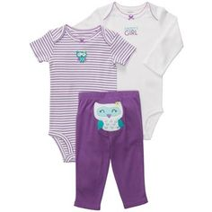 3-piece Bodysuit Pant Set from carters.com OMG purple and owls!
