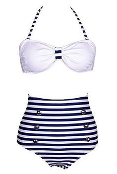 Losorn Women Pinup Rockabilly Vintage High Waist Bikini Swimsuit Swimwear (Large Blue stripe)