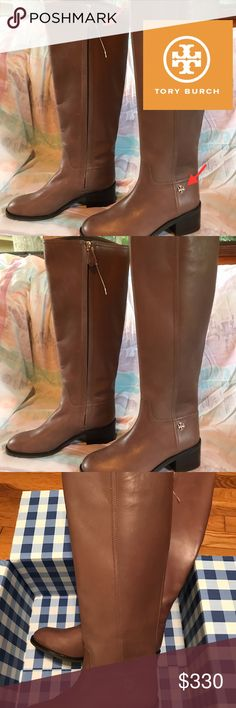 "Tory Burch Size 8 ""Fulton"" Riding Boot, Brown NWOT/Brand new. Love this classy fall boot! Only worn in the house, and still has the plastic tag attached to the zipper (see pics) but no barcode.  - Smooth leather upper  - Double T Gold hardware - 15 1/2"" knee-high shaft (5'4, below my kneecap!) - 13"" top circumference  - 2"" stacked heel  - MAKE AN OFFER! Tory Burch Shoes Heeled Boots"