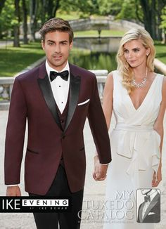 The Ike Behar Evening Burgundy 'Marbella' Tuxedo. This is a magnificent slim fit tuxedo that features a contrasting black satin peak lapel White Tuxedo Wedding, Red Tuxedo, Maroon Wedding, Tuxedo Suit, Burgundy Wedding, Wedding Suits, Wedding 2017, Fall Wedding Tuxedos, Groom Tuxedo Wedding