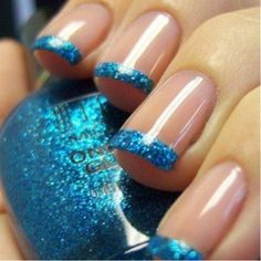 I'd use a different base color I think, but love the blue tips (and the nude nails, just not together)