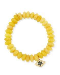 10mm Yellow Opal Beaded Bracelet with Diamond & Sapphire Flower Eye Charm by Sydney Evan at Neiman Marcus.
