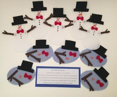 Five Melting Snowmen Flannel Board Story Flannel Board Stories, Flannel Boards, Felt Stories, Five Little, Felt Material, Fabric Painting, Christmas Stockings, Snowman, Gift Wrapping