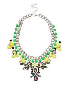 Liquorish Neon Gem Statement Necklace - Asos