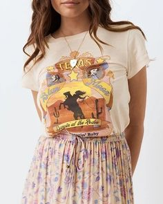 Texas Blue Moon T Shirt Dancin' At The Rodeo Cowgirl Horse Riding Baby – Made4Walkin Rodeo Cowgirl, Cowgirl And Horse, Horse Riding, Cowgirl Outfits, Cowgirl Clothing, Summer Crop Tops, Beige Color, Blue Moon, Boho Tops