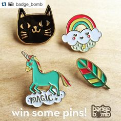 #Repost @badge_bomb  #giveaway You and a friend could each win a #pin of your choice!  Follow @badge_bomb and @allisoncoleillustration then tag a friend in the comments.  One randomly picked #follower that comments will win April 1st.  Yes we'll ship international. . #pins #friends #love #unicorn #cat #catstagram #feather #rainbows #art #design #patchgame #cute #illustration #magic #friendship