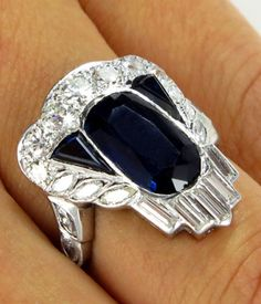"""Items similar to Reserved.Dazzling Art Deco GIA """"NO HEAT"""" Sapphire Diamond Cluster Ring in Platinum, Circa 1917 on Etsy Art Deco Ring, Art Deco Jewelry, Jewelry Rings, Jewelry Design, Jewelry Watches, Antique Earrings, Antique Jewelry, Vintage Jewelry, Art Nouveau"""