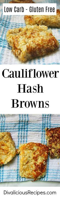 Cauliflower hash browns make a great low carb alternative to potato hash browns. Delicious with some cheese and herbs too. Flavour them to your tastes!