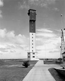The New Charleston Lighthouse located on Sulivan's Island, South Carolina... completed 1962--saw--