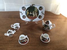 CROWNFORD GIFTWARE CORP FINE BONE CHINA ENGLAND 10 PC MINI TEA SET Cats & Bird