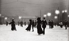 Ice skating by night in Vienna circa 1910.  Photograph: Imagno/Getty Images