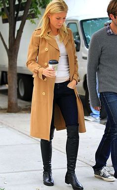 over-the-knee boots + tee + trench