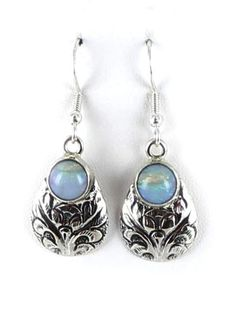 BLUE AUSTRALIAN OPAL STERLING EARRINGS ETCHED ROUND from New World Gems