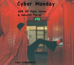 Cyber Monday Sale  20% off Flare Street's Plain Velvet and Metallic Flares  Enter code at checkout: FLARELOVE16  This offer is available worldwide until 11.59pm Monday 28th November 2016. #flares #bellbottoms #festivalfashion #festival #rave #fashion #design #glam #boho #hippie #gypsy #style #retro #vintage #babe #love #photooftheday #amazing #smile #look #instalike #picoftheday #instadaily #girl #instagood #bestoftheday #instacool #instago #cybermonday #shoponline