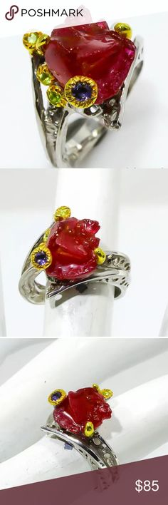 ♥️ FINE ART NATURAL RUBY RING•925K STERLING  ♥️ ♥️ ARTISTIC NATURAL ROUGH RUBY RING•925K STERLING SILVER OTHER GEMS:   Peridot, Iolite GEM COLOR:   Red MAIN STONE SIZE:   12x11 mm TREATMENT:   Heating  MAIN STONE ORIGIN:   Mozambique TYPE OF METAL:   925 Sterling Silver PLATE:   Multi-Tone Gold TOTAL WEIGHT:   31.9 Carat (GEM(S)+SETTING) SIZE:           6 ♥️ Jewelry Rings