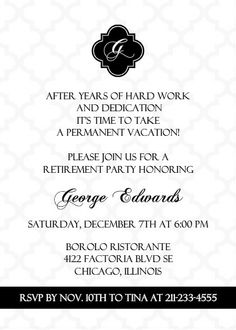 Black And White Formal Retirement Invitation ~